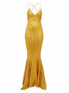 Norma Kamali - Fishtail-hem Sequinned Jersey Maxi Dress - Womens - Gold