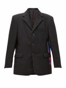 Maison Margiela - Flamingo Print Padded Blazer - Womens - Black Multi