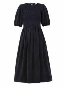 Molly Goddard - Priscilla Shirred Cotton Blend Corduroy Dress - Womens - Navy