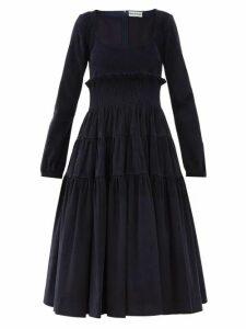 Molly Goddard - Marley Tiered Cotton Blend Corduroy Dress - Womens - Navy