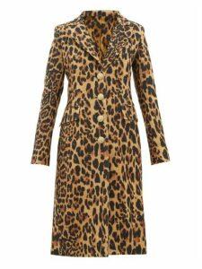 Paco Rabanne - Leopard Single-breasted Wool-blend Coat - Womens - Leopard