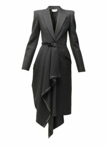 Alexander Mcqueen - Selvedge Edge Draped Single Breasted Wool Coat - Womens - Grey