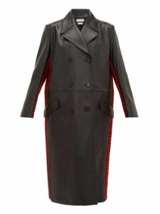 Alexander Mcqueen - Double Breasted Checked Wool And Leather Coat - Womens - Black Red