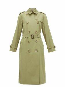 Burberry - Waterloo Cotton-gabardine Trench Coat - Womens - Olive Green