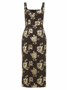 Emilia Wickstead - Juditella Floral-brocade Pencil Dress - Womens - Black Gold
