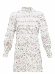 Sir - Haisley High-neck Mesh-panel Mini Dress - Womens - Ivory Multi