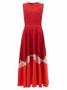 Roksanda - Alesi Curved Panel Cady Dress - Womens - Red Multi