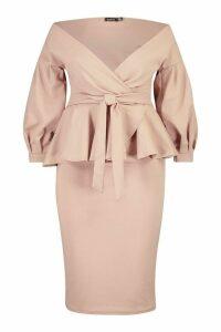 Womens Plus Off Shoulder Wrap Top & Skirt Co-Ord - beige - 20, Beige