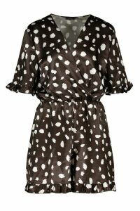 Womens Smudge Print Satin Wrap Playsuit - black - 16, Black
