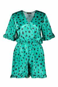 Womens Smudge Print Satin Wrap Playsuit - green - 16, Green