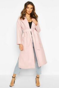Womens Oversized dressing gown Belted Coat - pink - 14, Pink
