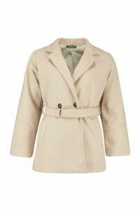 Womens Ring Detail Belted Wool Look Coat - beige - 14, Beige