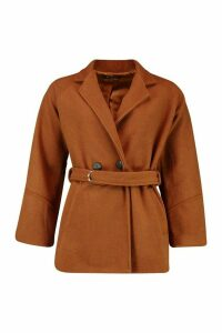 Womens Ring Detail Belted Wool Look Coat - brown - 14, Brown