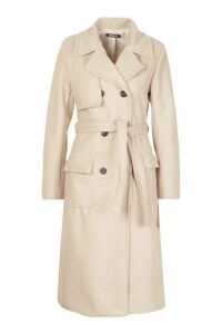 Womens Double Breasted Trench Wool Look Coat - beige - 14, Beige