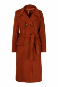 Womens Double Breasted Trench Wool Look Coat - orange - 12, Orange