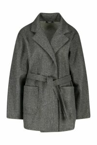 Womens Wool Look Marl Belted Coat - grey - 10, Grey