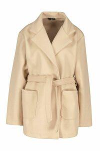 Womens Wool Look Marl Belted Coat - beige - 14, Beige