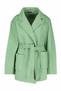 Womens Wool Look Marl Belted Coat - green - 14, Green