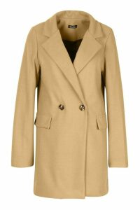 Womens Longline Wool Look Blazer Coat - beige - 14, Beige