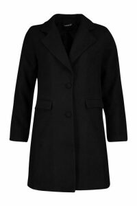 Womens Tailored Self Fabric Button Wool Look Coat - black - 14, Black
