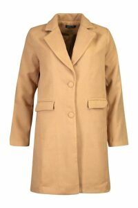 Womens Tailored Self Fabric Button Wool Look Coat - beige - 14, Beige