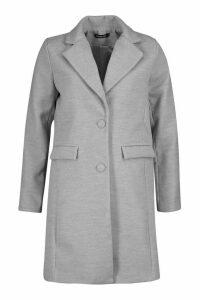 Womens Tailored Self Fabric Button Wool Look Coat - grey - 8, Grey