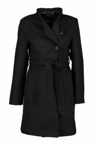Womens Tailored Button Through Tie Waist Wool Look Coat - black - 10, Black