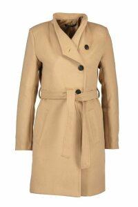 Womens Tailored Button Through Tie Waist Wool Look Coat - beige - 14, Beige