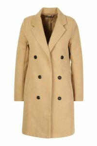 Womens Petite Double Breasted Wool Look Coat - beige - 14, Beige