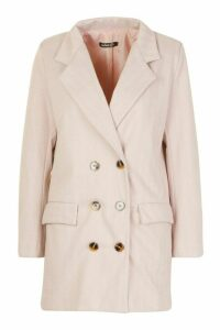 Womens Petite Herringbone Wool Look Double Breasted Coat - Pink - 14, Pink