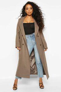 Womens Petite Belted Double Breasted Wool Look Coat - beige - 10, Beige