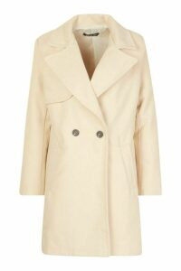 Womens Petite Wool Look Pocket Detail Coat - beige - 4, Beige