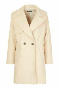 Womens Petite Wool Look Pocket Detail Coat - beige - 14, Beige