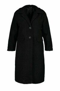 Womens Plus Longline Teddy Coat - black - 18, Black