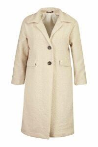 Womens Plus Longline Teddy Coat - white - 16, White