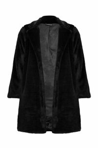 Womens Petite Luxe Faux Fur Coat - black - 14, Black