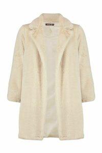 Womens Petite Luxe Faux Fur Coat - white - 14, White