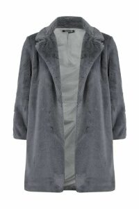 Womens Petite Luxe Faux Fur Coat - grey - 14, Grey