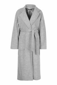 Womens Petite Belted Patch Pocket Longline Wool Look Coat - grey - 14, Grey