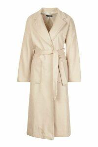 Womens Petite Belted Patch Pocket Longline Wool Look Coat - beige - 12, Beige