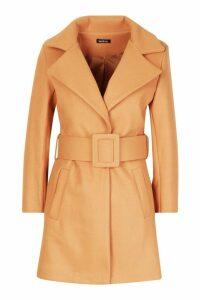 Womens Petite Self Belted Wool Look Coat - beige - 14, Beige