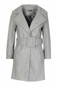 Womens Petite Self Belted Wool Look Coat - grey - 14, Grey