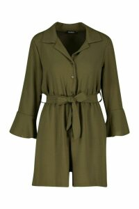 Womens Flare Sleeve Button Front Playsuit - green - 16, Green