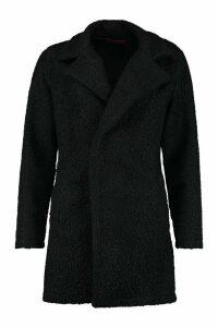 Womens Teddy Textured Wool Look Coat - black - 12, Black