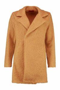 Womens Teddy Textured Wool Look Coat - beige - 14, Beige