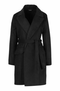 Womens Tie Waist Pocket Detail Wool Look Coat - black - M, Black