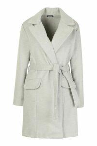 Womens Tie Waist Pocket Detail Wool Look Coat - grey - M, Grey
