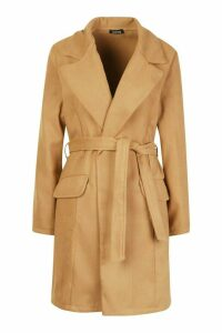 Womens Tie Waist Pocket Detail Wool Look Coat - beige - M, Beige