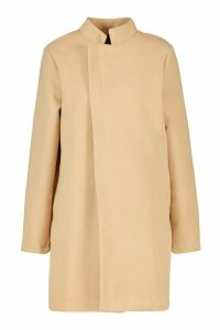 Womens Contrast Zip Wool Look Coat - beige - 14, Beige