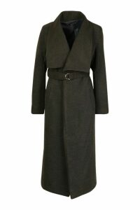 Womens Longline Ring Detail Wool Look Coat - grey - 14, Grey
